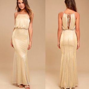 Lulu's Shine On Gold Sparkle Gown NWT